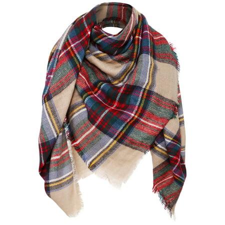 Womens Ultra Soft Plaid Blanket Wrap Scarf Shawl  Camel