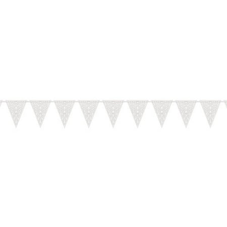 (2 pack) Lace Cut Out Paper Pennant Banner, 12 ft, White, 1ct - Halloween Pennant Banner Printable