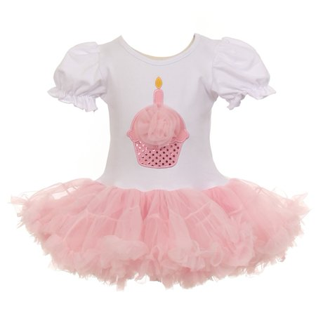 Little Girls Pink White Cupcake Birthday Applique Tulle Tutu Dress 12M-3T - Girls Cupcake Dress
