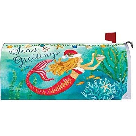 Custom Decor Christmas Mermaid Magnetic Mailbox Wrap Cover ()
