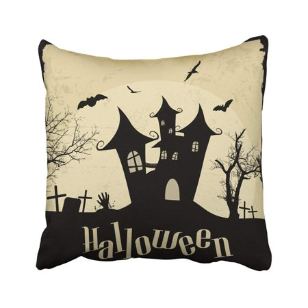 BPBOP Black Advertisement Vintage Halloween On Grunge Aged Antique Bat Castle Celebration Creepy Pillowcase Throw Pillow Cover Case 18x18 inches