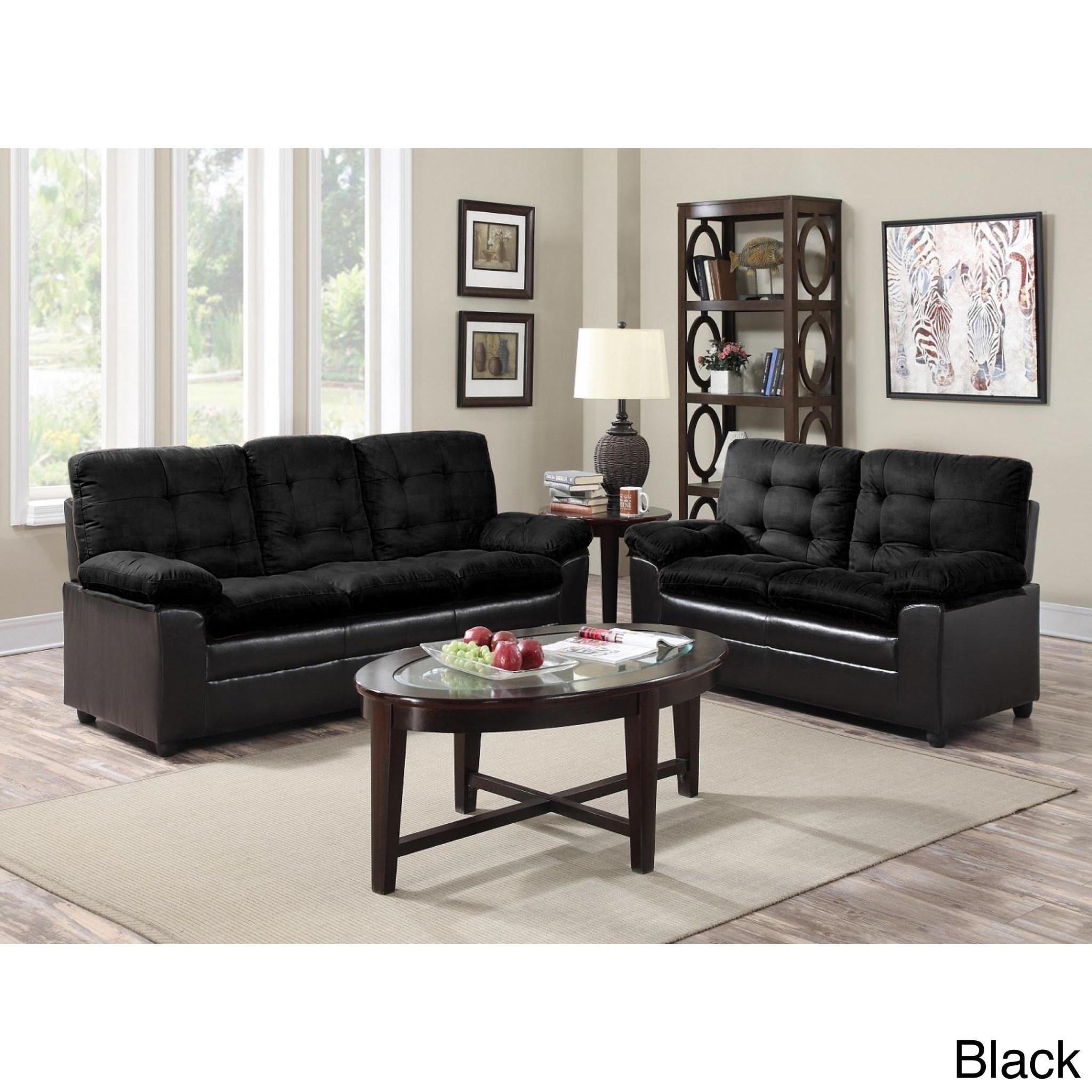 GTU Furniture Two Tone Microfiber Sofa and Loveseat Set Walmart