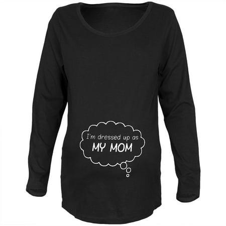 Halloween Dressed Up As Mommy Black Maternity Soft Long Sleeve T-Shirt - Mummy Fingers Halloween