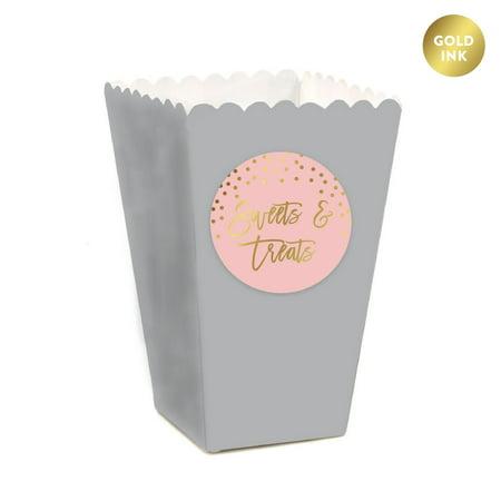 Blush Pink and Metallic Gold Confetti Polka Dots, Popcorn Box DIY Kit, Sweets & Treats, 24-Pack - Small Pink Sweets