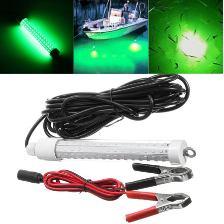 IP68 Super Bright 12V LED Deep Drop Underwater Attract Fish Squid Lure Lamp Submersible Fishing LED Light Night Bait Squid Fish Attracting Snook Green Light +6m/19.7FT Cable