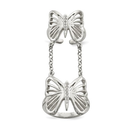 Sterling Silver Polished CZ Butterfly Double Finger Ring Size 7