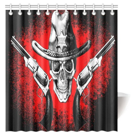 MYPOP Pirate Skull Decor Shower Curtain, Jolly Roger Pirate Skull With Two Guns Cowboy Skeleton Retro Jolly Roger Bathroom Shower Curtain with Hooks, 66 X 72 - Pirate Bathroom Decor