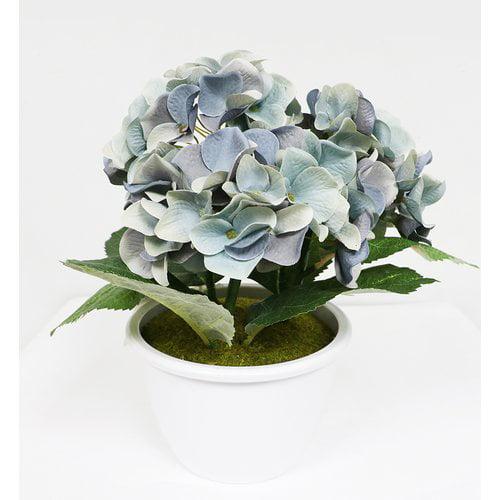 Charlton Home Artificial Hydrangea Flower Floral Arrangement in Pot