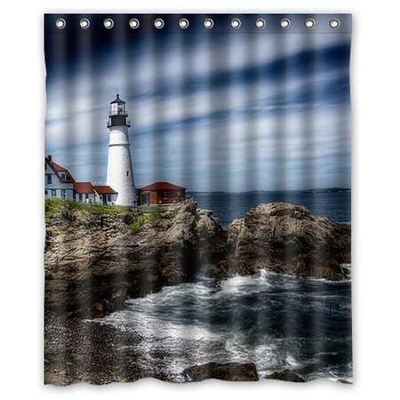 DEYOU Lighthouse Shower Curtain Polyester Fabric Bathroom Size 66x72 Inches