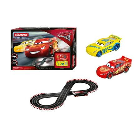 (Carrera Disney Pixar Cars 3 Take Off Slot Car Set with Lightning McQueen Car and Cruz Ramirez Racing Car)
