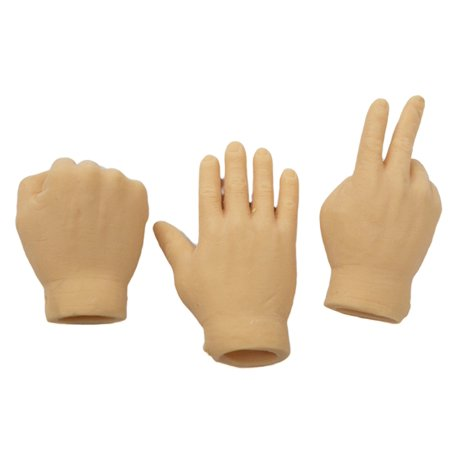 Set Of 3 Flesh Color Rock Paper Scissors Latex Finger Puppets, Set includes 3 pieces, as shown. By