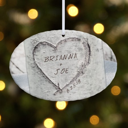 Personalized Carved Heart Oval Christmas Ornament