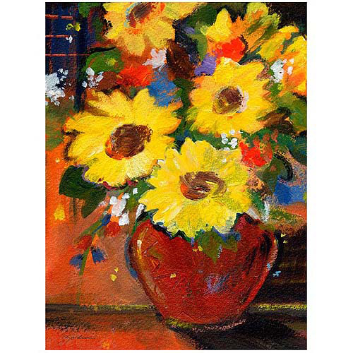 "Trademark Art ""Sunflowers with Red Bowl"" Canvas Art by Sheila Golden, 24x32"