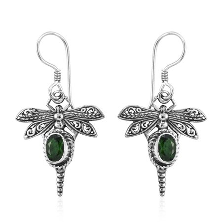 Dragonfly Solitaire Earrings 925 Sterling Silver Oval Chrome Diopside Gift Jewelry for Women Ct 1.3