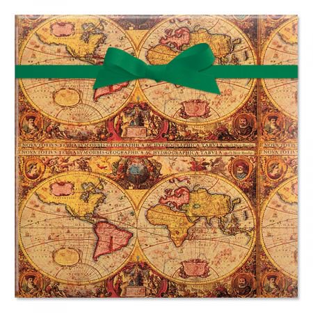 Map Jumbo Rolled Birthday Gift Wrap - 67 sq. ft. heavyweight, tear-resistant and peek-proof wrap, Men
