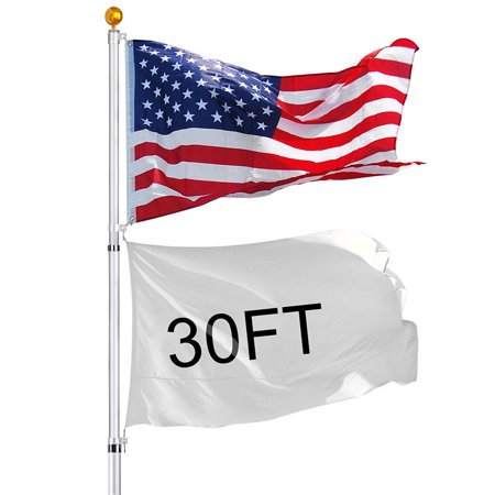30' Telescopic Aluminum Flag Pole Kit 16 Gauge Flagpole 3'x5' US Flag & Ball Fly 2 Flags ()