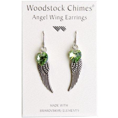 Rainbow Makers Collection - Woodstock Angel Wing Earrings - Peridot CWPE by - Angel Wing Earrings