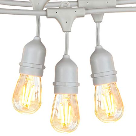 Brightech Ambience Pro Waterproof Led Outdoor String Lights Hanging 2w Vintage Edison Bulbs 48 Ft Creates Bistro In Your Gazebo Back