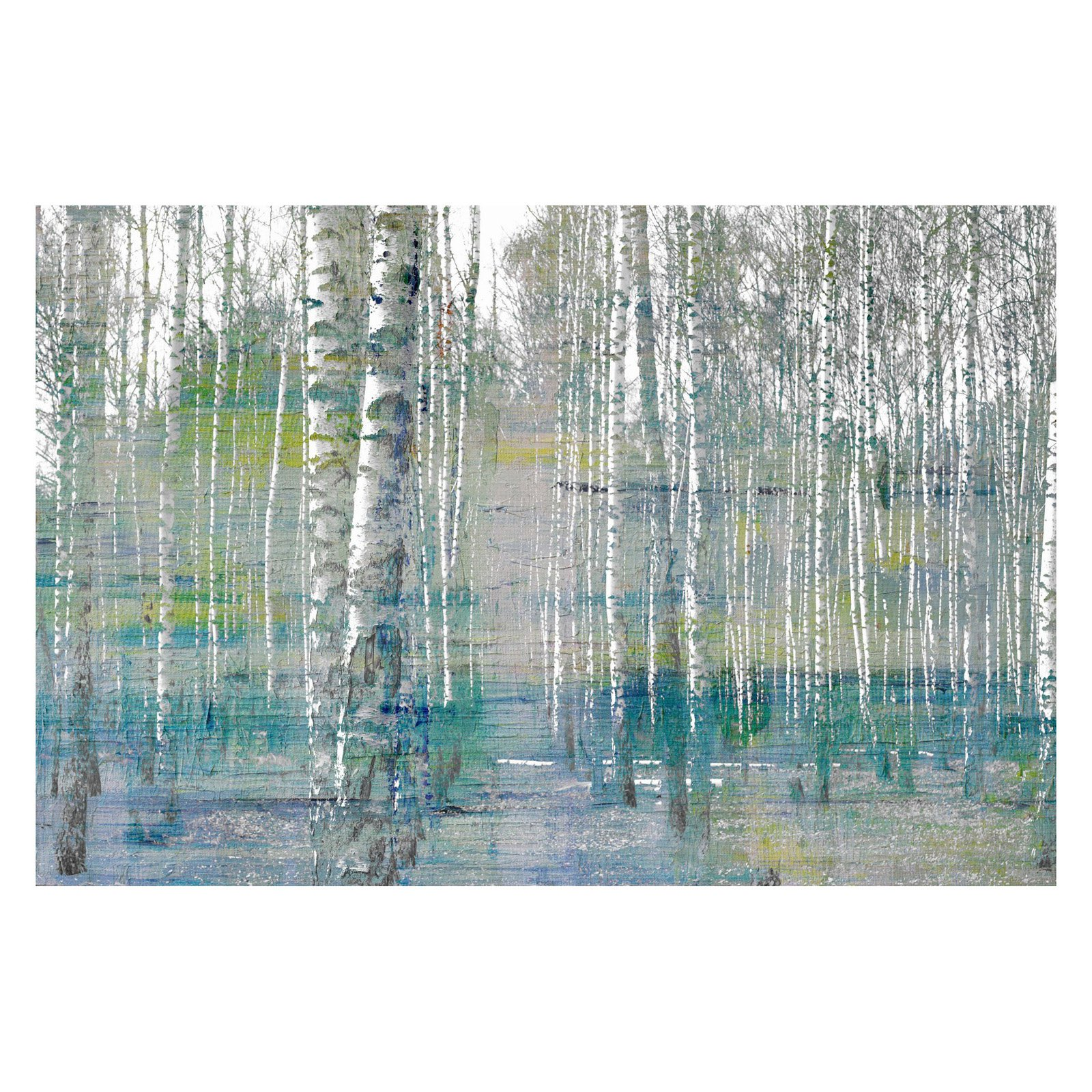 "Parvez Taj ""Teal Tree Forest"" Painting Print on Wrapped Canvas"
