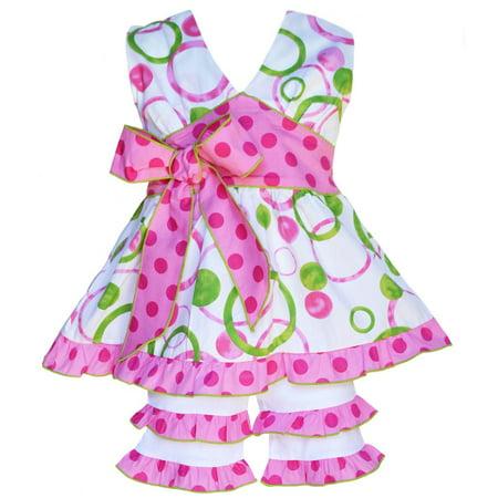 Girls Boutique Pink & Green Halter Capri Shorts Clothing Set