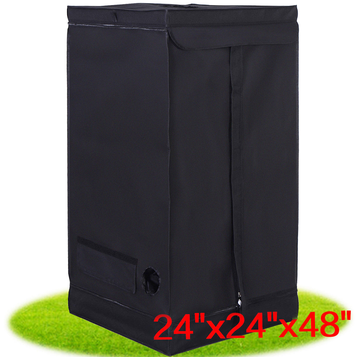 Costway Indoor Grow Tent Room Reflective Hydroponic Non Toxic Clone Hut 6 Size (24''X24''X48'')