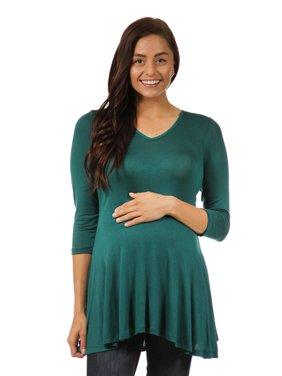 24seven Comfort Apparel Women's Maternity 3/4 Sleeve V-neck Tunic Top