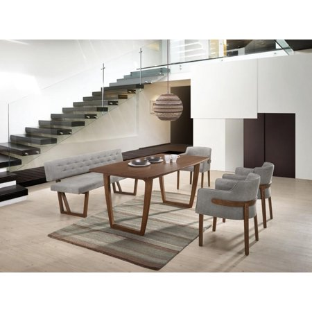 Magnificent Vig Modrest Jordan Walnut Grey Fabric Dining Set 6Ps W Bench Modern Contemporary Alphanode Cool Chair Designs And Ideas Alphanodeonline