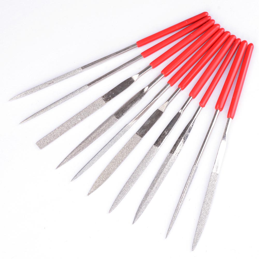 Yescom 10 Pcs Diamond Needle File Set Soft Grip Cutting Tool for Glass Ceramic Carbide