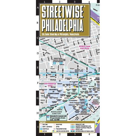 Party City In Pennsylvania (Streetwise Philadelphia Map - Laminated City Center Street Map of Philadelphia, Pennsylvania - Folded)