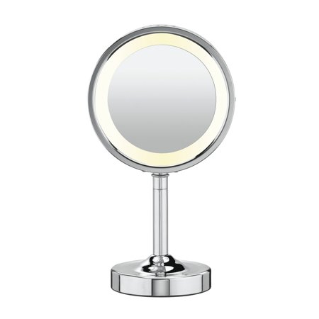 5x Compact Magnifying Mirror (Conair Double-Sided Lighted Vanity Mirror; 1x / 5x Magnification, Chrome )