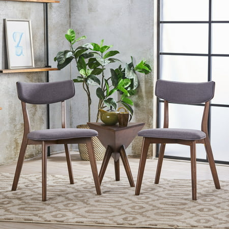 Noble House Sadie Mid Century Dark Grey Fabric Walnut Dining Chairs (Set of 2) ()