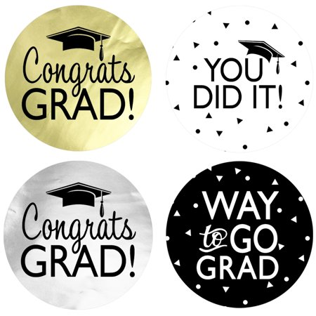 Graduation Party Favor Label Pack, 60ct - Black Gold Silver Graduation Party Favor Decoration Supplies - 60 Count Stickers (1 3/4 inch) - 60 Party Decorations