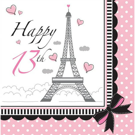 Party Creations Party in Paris 13th Birthday Lunch Napkins, 18 Ct (Birthday Paris Theme)