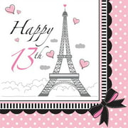 Party Creations Party in Paris 13th Birthday Lunch Napkins, 18 Ct