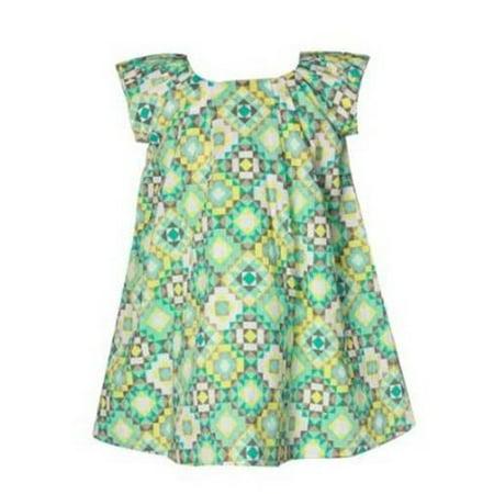Richie House Big Girls Green Geometric Art Deco Dress 12 - Green Girl Dresses