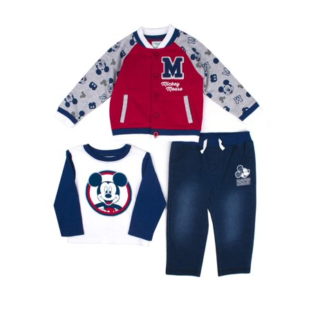 Mickey Mouse Varsity Jacket, Long Sleeve T-shirt & Jeans, 3pc Outfit Set (Baby Boys)