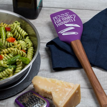"Thyme & Table Pointed Spatula - Purple ""penne for your thoughts"""
