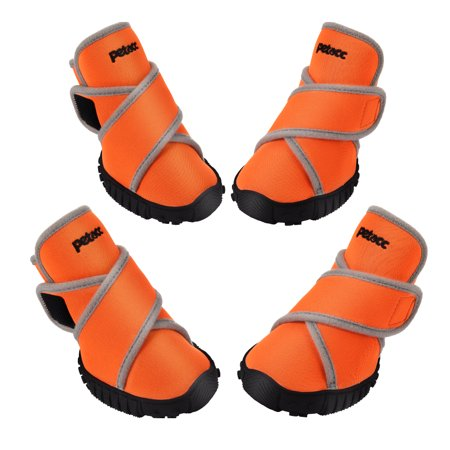 Petacc Dog Boots Waterproof Dog Shoes Pet Rain Boots Outdoor Shoes with Rugged Anti-Slip Sole, 4Pcs, Orange, M Lewis Dog Boots