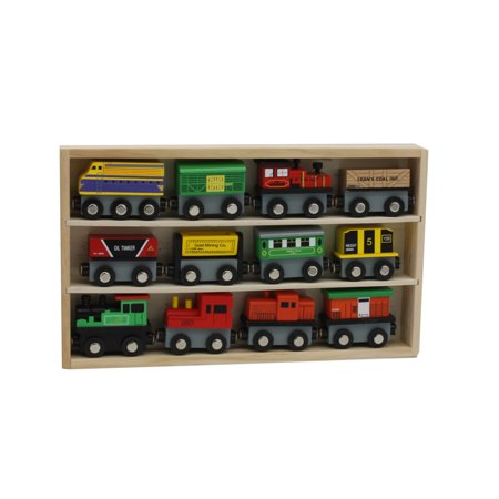 12 Piece Wooden Toy Train Cars Set Compatible with Other (Halo Compatible Track Type)