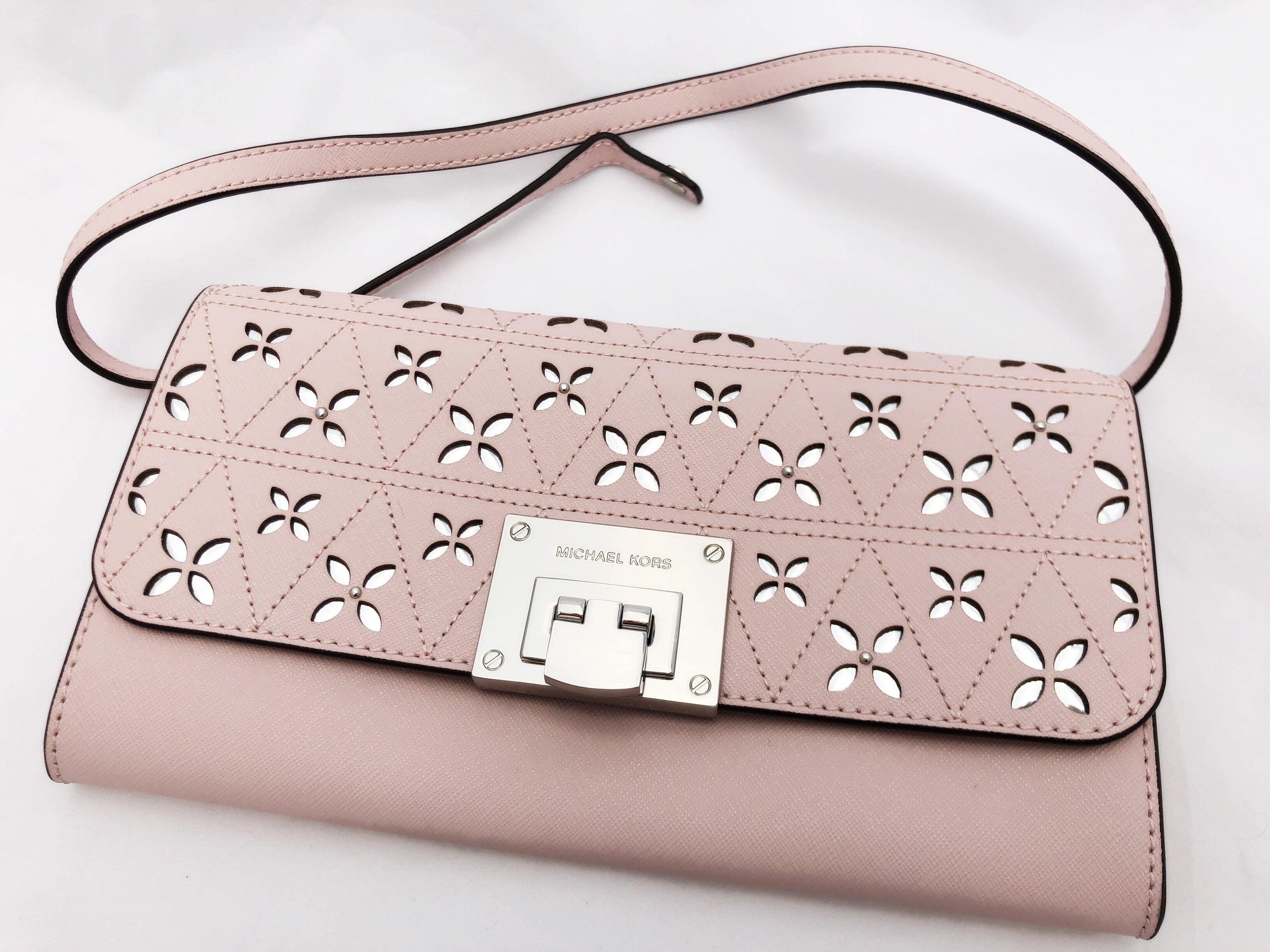 28f0e22cbcc3 Michael Kors Tina Clutch Perforated Blossom Pink Shoulder Bag - Walmart.com