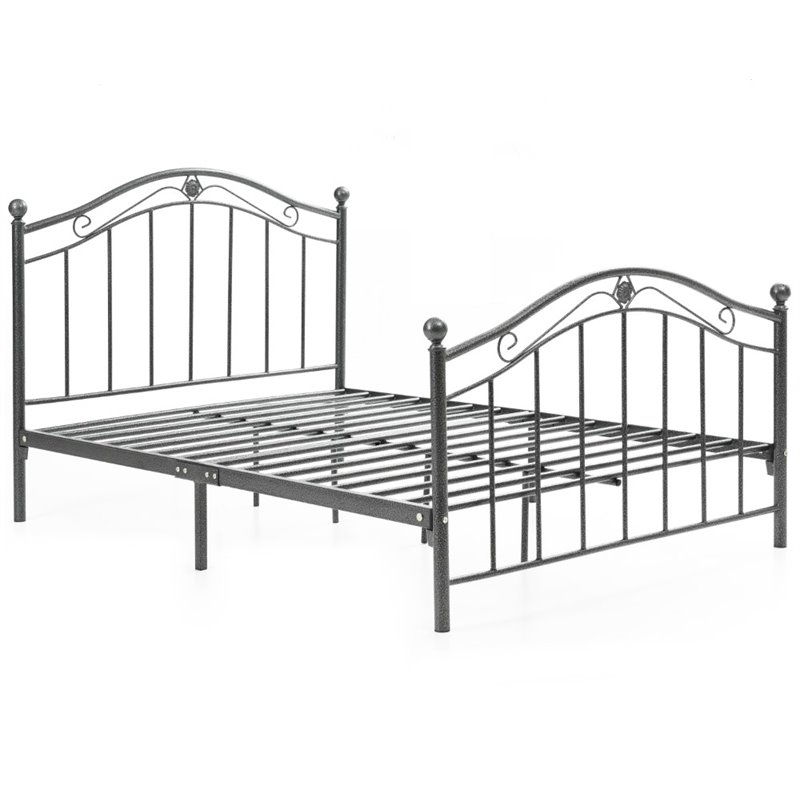 Pemberly Row Queen Metal Panel Bed in Black and Silver