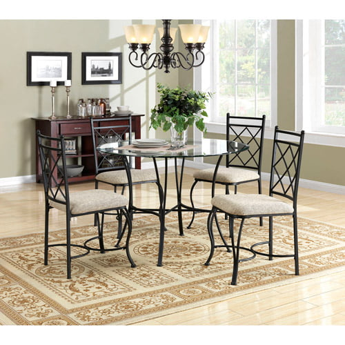 Click here to buy Mainstays 5-Piece Glass Top Metal Dining Room Set by Dorel Asia.