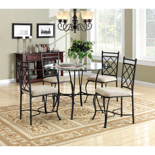 Captivating Mainstays 5 Piece Glass Top Metal Dining Set