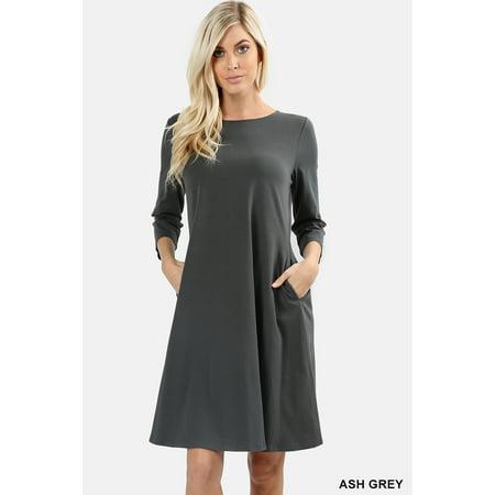 Women Round Neck 3/4 Sleeve Classic A-Line Dress w/ Side