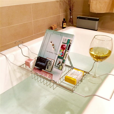 Stainless Steel Bathtub Caddy Tray Tub Removable Wine Glass Holders ...