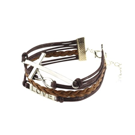 Zodaca 7 to 9 inch Adjustable Women Braided Leather Bracelet Woven Multilayer