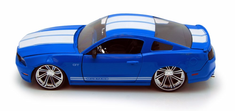 2010 Ford Mustang GT, Blue w  white stripes Jada Toys 92206 1 24 scale Diecast Model Toy... by Jada