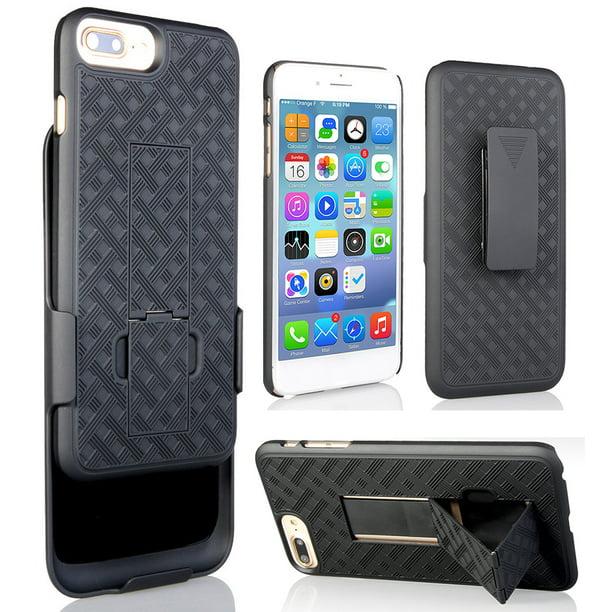 Nakedcellphone S Black Rubberized Kickstand Case Cover Belt Clip Holster Stand For Apple Iphone 7 8 Plus 5 5 Walmart Com Walmart Com