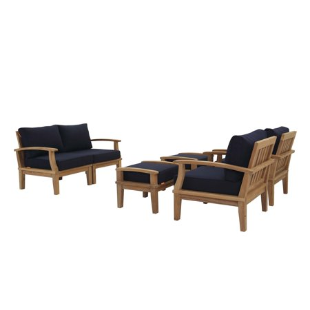 Modern Contemporary Urban Outdoor Patio Balcony Garden Furniture Lounge Sofa and Chair and Coffee Table Set, Wood, Navy Blue Natural