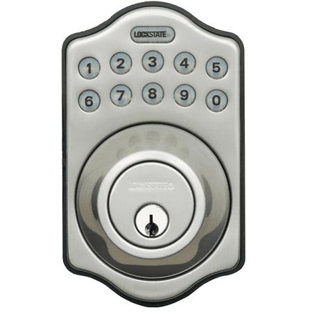 Lockstate Remotelock 5I Satin Nickel Aspen Electronic Deadbolt Lock